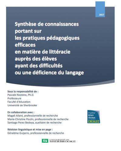 Nouvelle publication : une recension sur les pratiques efficaces en littéracie auprès des élèves en déficiences langagières