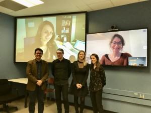 De gauche à droite: Gerardo Restrepo, Denis Alamargot, Marie-France Morin et Érika Simard-Dupuis. Thèse soutenue à l'Université de Sherbrooke avec deux membres du jury à distance, Nathalie Bonneton-Botté et Jessica Guilbert.